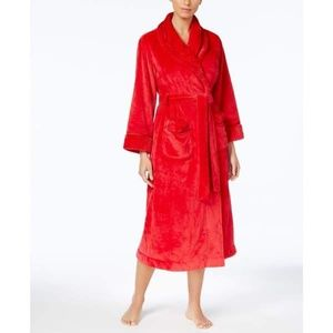 Charter Club Dimple Contrast Long Robe MEDIUM Red